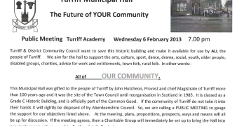 Turriff Community Hall public meeting notice