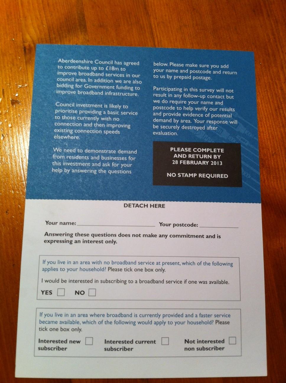 Aberdeenshire Broadband Survey card