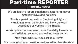 Turriff Advertiser reporter job advert