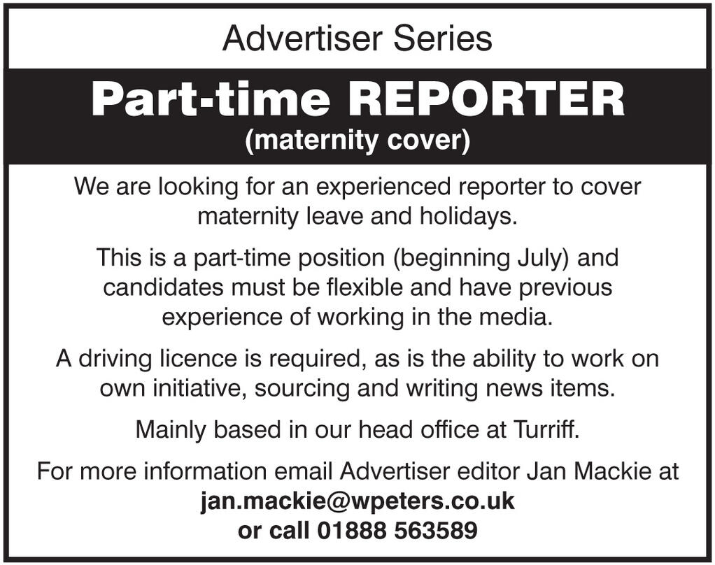 The Turriff Advertiser Is Looking For A Part Time Reporter