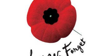 Poppy with the words Lest We Forget, below it.