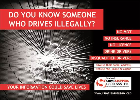 Crimestoppers illegal drivers poster