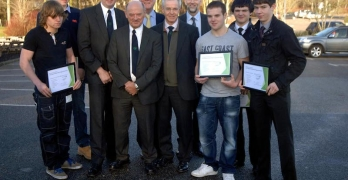Picture showing rural internship scheme certificate presentations L-R Lewis Duncan; David Dalgety; Ringlink Training Manager Peter Wood; Ringlink MD Graham Bruce; Councillor Bill Howatson; Ringlink Chairman Andrew Moir; Industry Support Executive Derek McDonald; David Petrie; Andrew Clark and Ewan Will