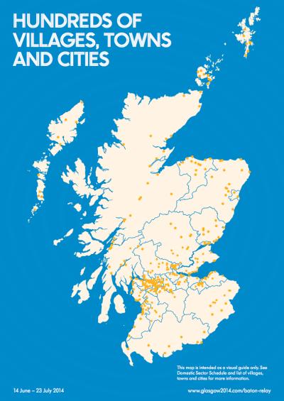 Queen's Baton Relay map