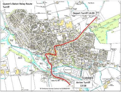 Queen's Baton Relay Turriff map