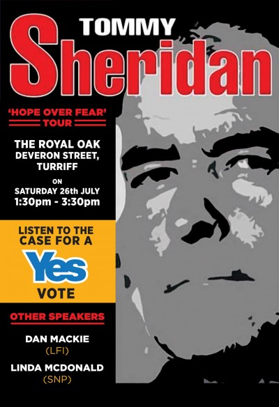 Tommy Sheridan, Hope Over Fear tour poster