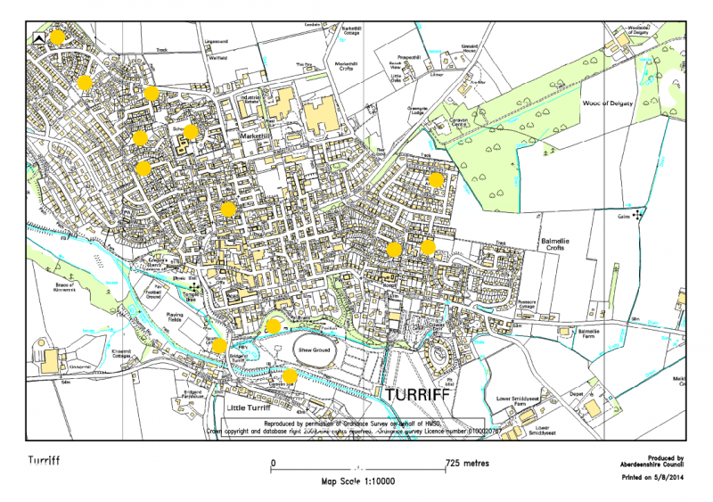Map showing locations of play parks in Turriff
