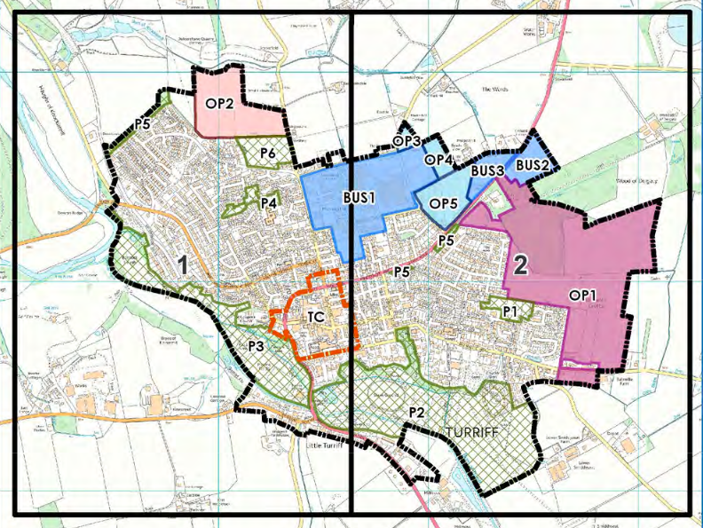 Map of Turriff development areas from the 2016 LDP