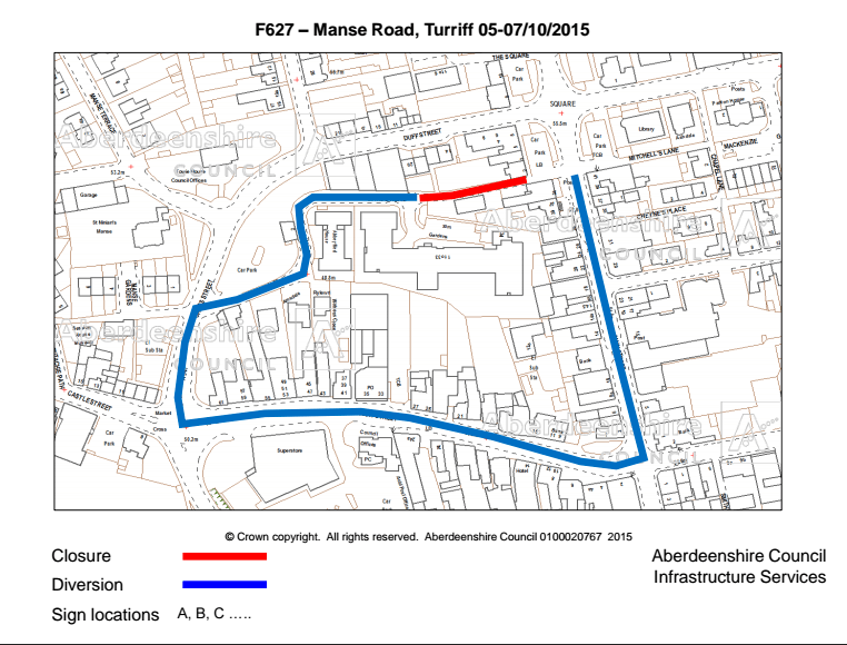 Manse Road diversion route via, The Wynd, Cross Street, High Street, Main Street and vice versa