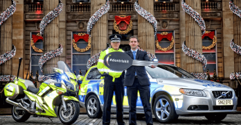 Superintendent Fraser Candlish and Justice Secretary Michael Matheson launch the Festive Drink Drive Campaign