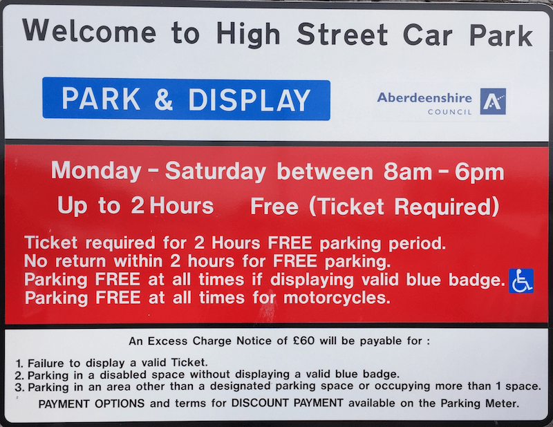 High Street car park, parking charges sign