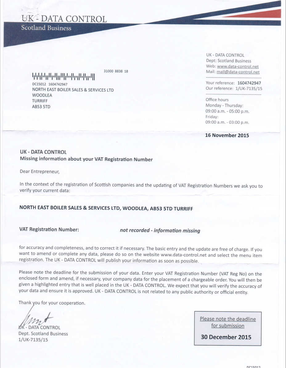 Uk Data Control Scam Letter Warning For Businesses My Turriff