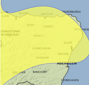 Weather warning issued for Aberdeenshire