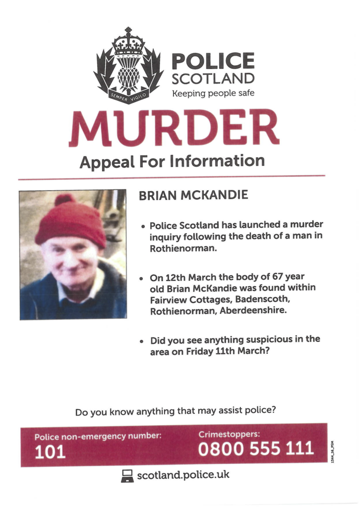 Murder Appeal for Information Poster.Brian McKandie