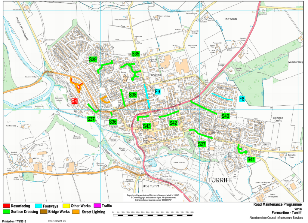 Planned resurfacing projects in Turriff