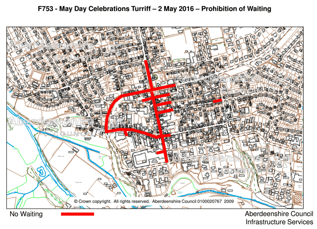 Roads with No Waiting restrictions for Turriff May Day.
