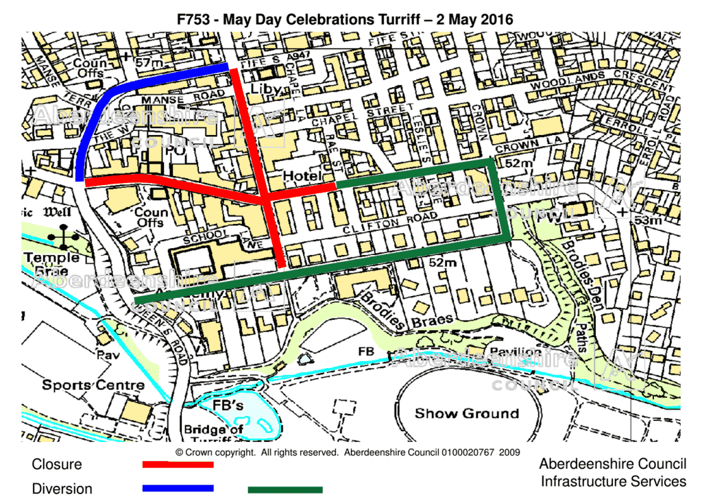 Road closures for Turriff May Day