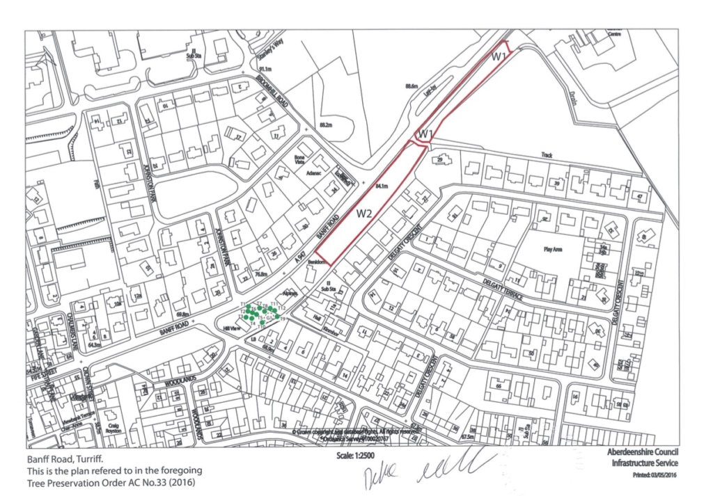 TREE PRESERVATION ORDER NUMBER AC TPO 33 (2016) BANFF ROAD, TURRIFF