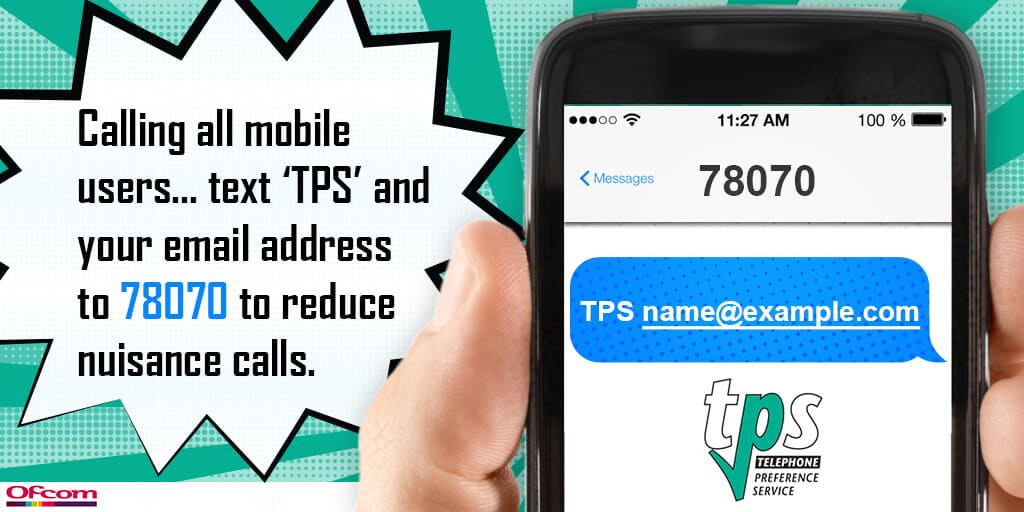 Text TPS followed by your Email address to 78070