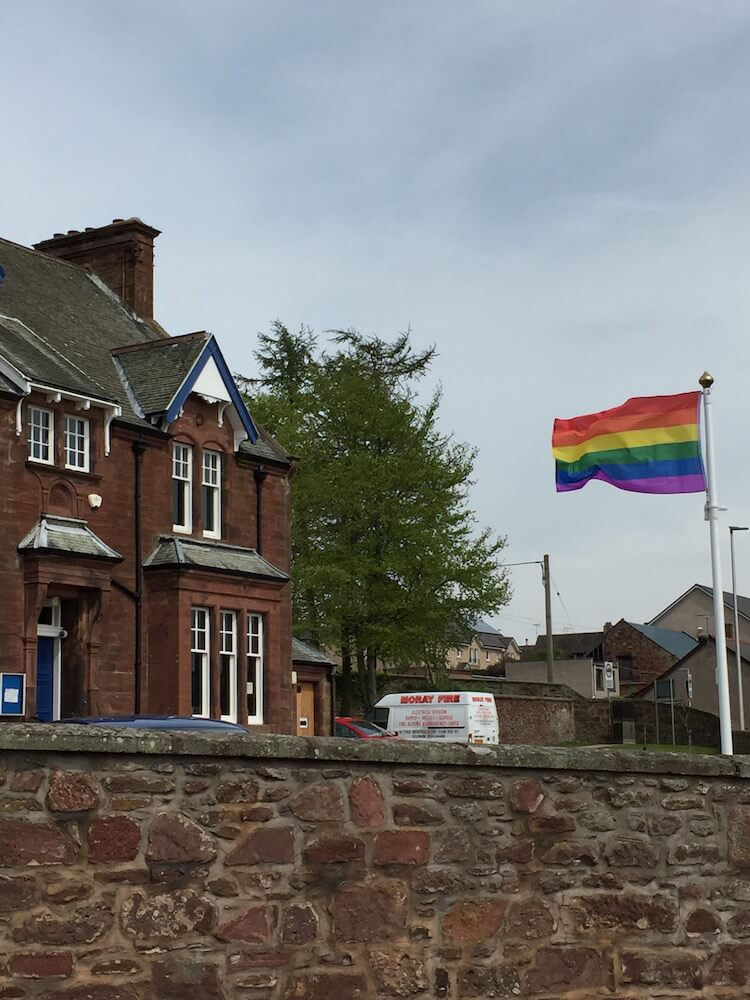 The rainbow flag flying at Towie House this afternoon
