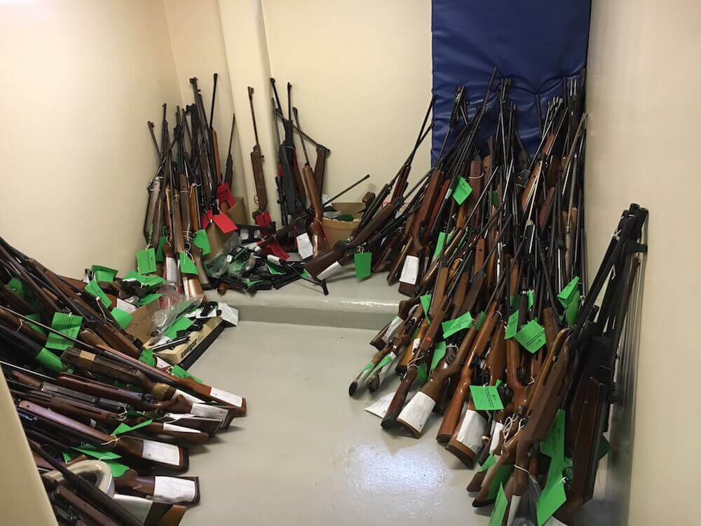 Some of the air weapons surrendered to Police Scotland in the North East