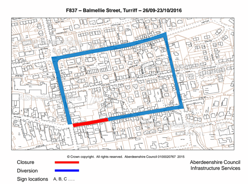 map of the Balmellie street closure
