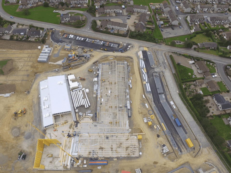Aerial view of the new Markethill Primary School construction site