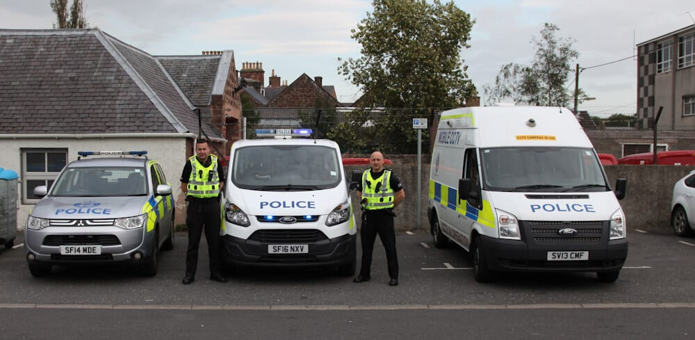PCs Scott Brown & John Riddell with some of the vehicles currently in use as part of Operation Tractable in Turriff