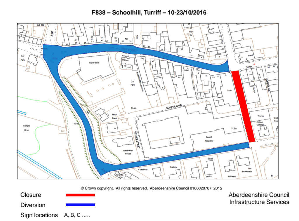 map of the schoolhill diversion