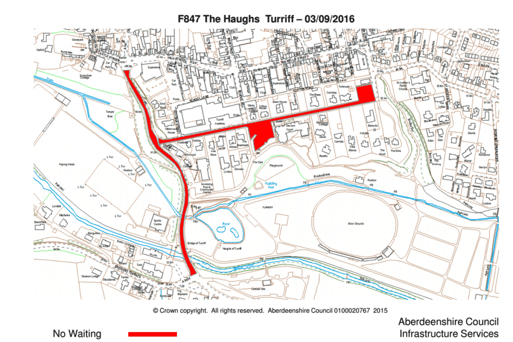 map of no waiting restrictions for Turriff United v Hibs match