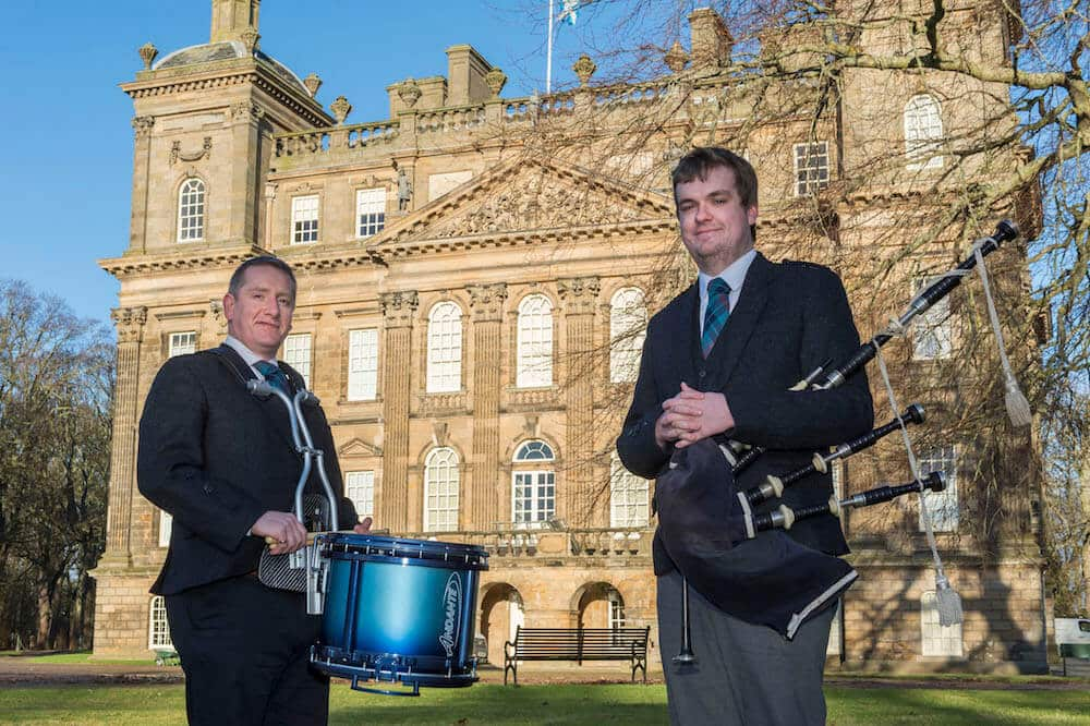 Aberdeenshire Schools Pipe Band drumming instructor Nicky Gibson and piping instructor Andrew Gray outside Duff House