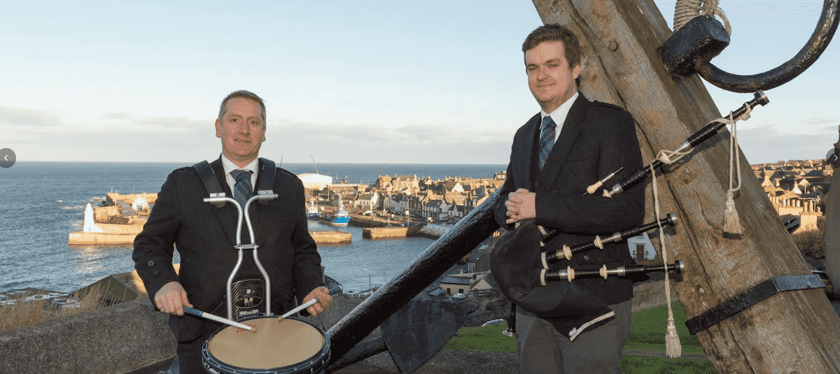 Aberdeenshire Schools Pipe Band drumming instructor Nicky Gibson (L) and piping instructor Andrew Gray (R)