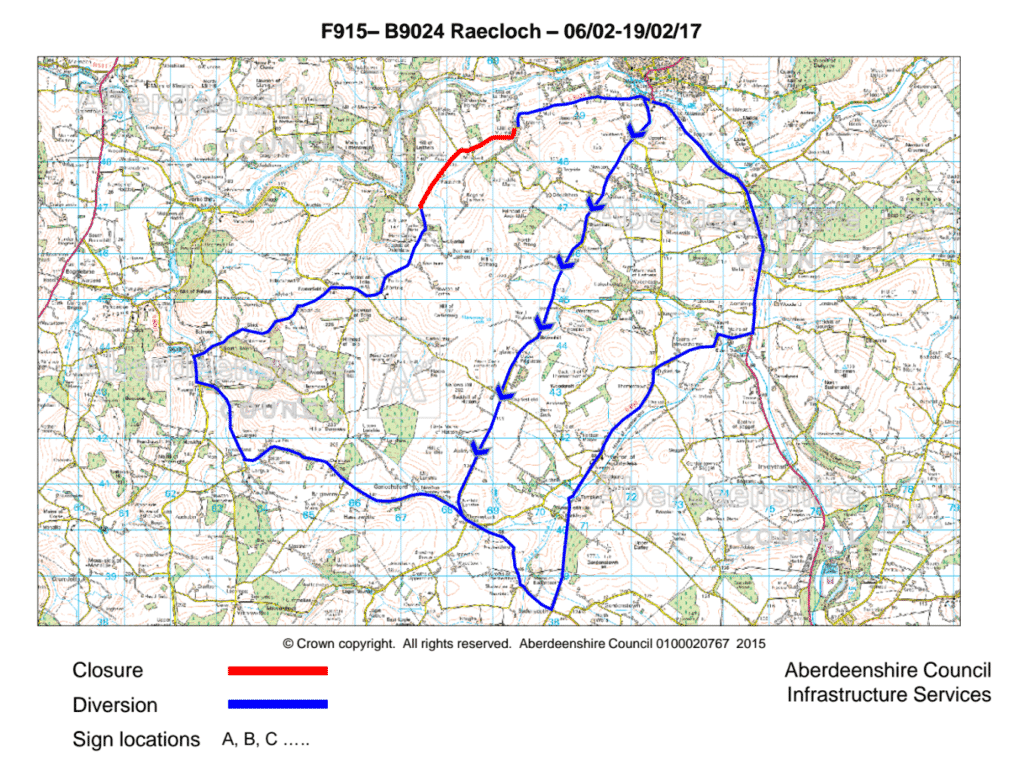 Map showing the diversions for the B9024 closure. Diversion routes are Southbound Diversion (travelling from Turriff) C22S, B9001 Northbound Diversion (travelling to Turriff) B9001, B992, A947