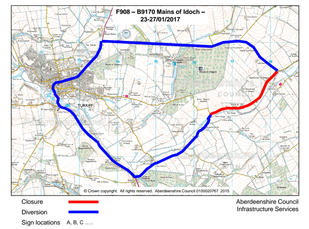 Map showing the road closure and diversion route for Mains of Idoch