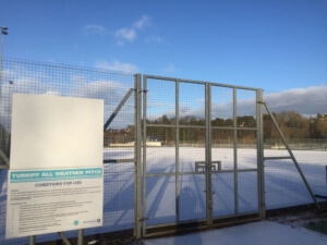 Picture of the gates to Turriff All Weather pitch