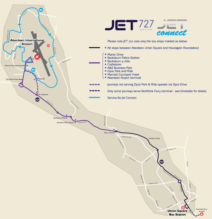 727 route map Dyce Park and Ride to Union Square