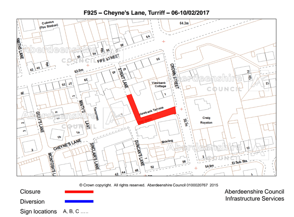 Map showing the Cheyne's Lane closure