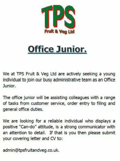 Tps fruit veg job vacancies my turriff office junior thecheapjerseys Image collections