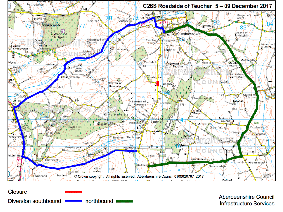 map showing the Teuchar Road closure and diversion routes