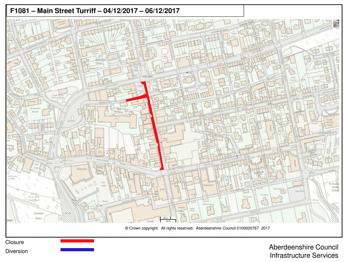 map showing the Main Street northbound closure