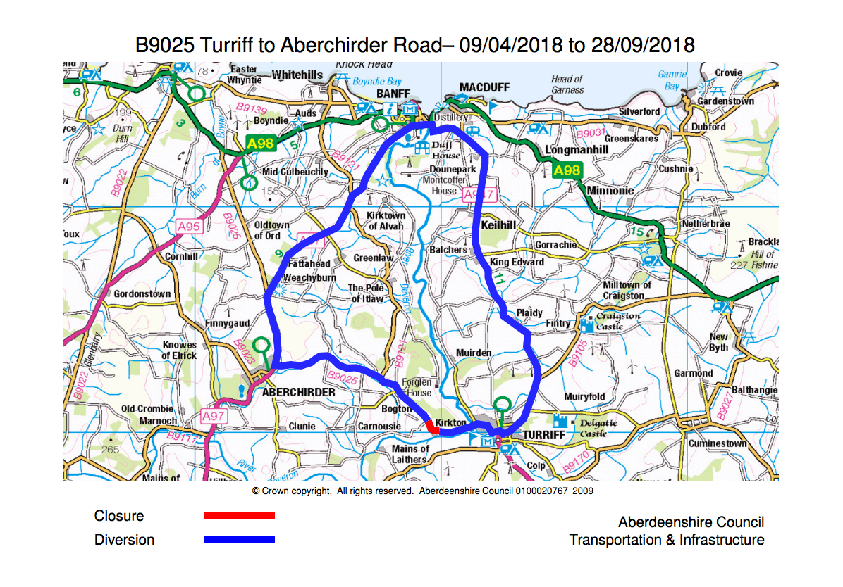 A map of the b9025 closure and diversion route