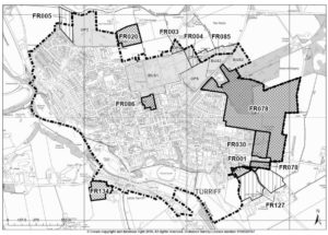 A map of Turriff showing the local development areas for housing and business use for the 2021 Aberdeenshire Local Development plan