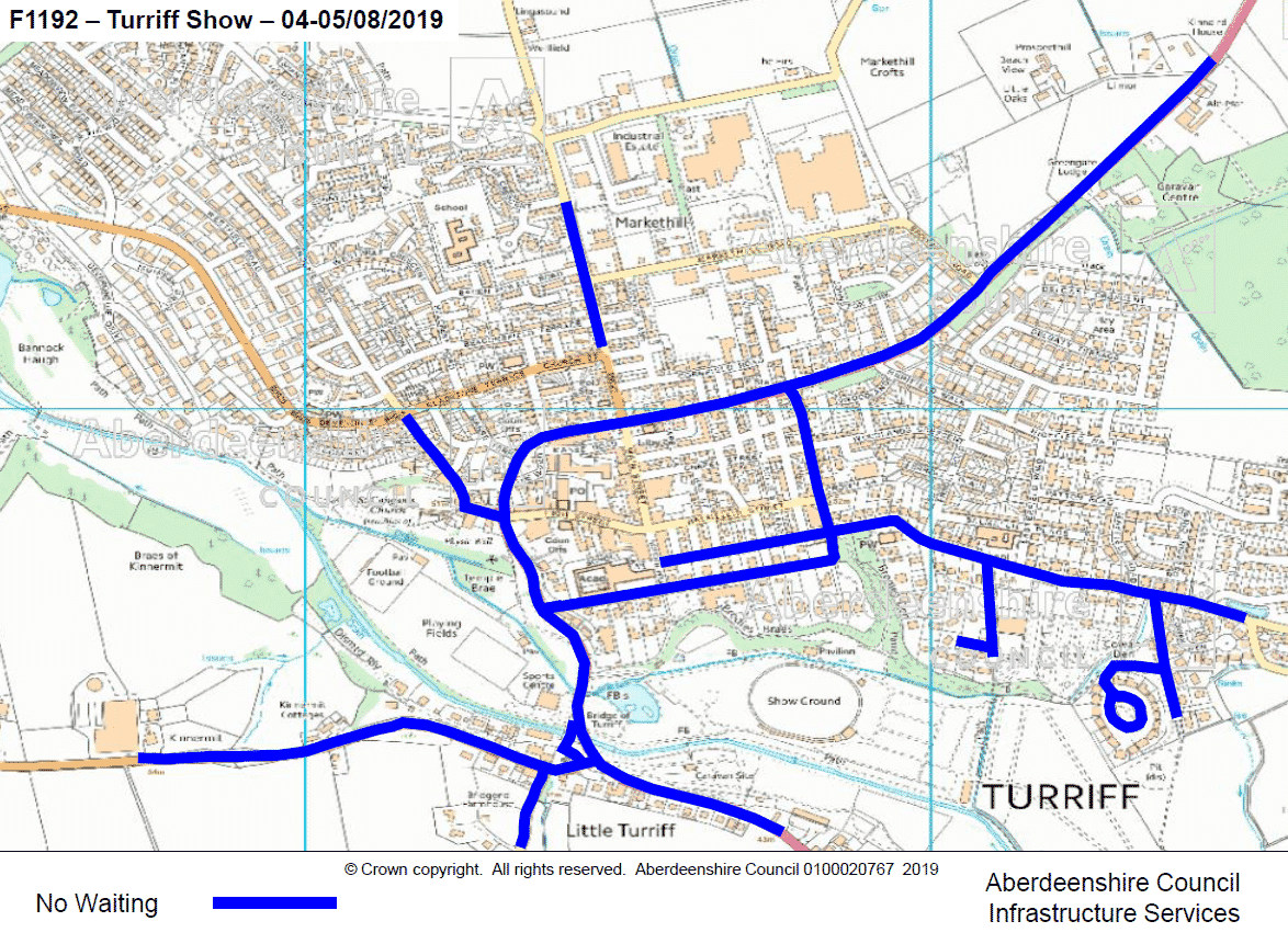 Map showing parking restrictions for the 2019 Turriff Show