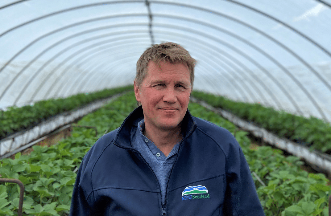 NFUS Horticultural Committee chairman James Porter in a polly tunnel