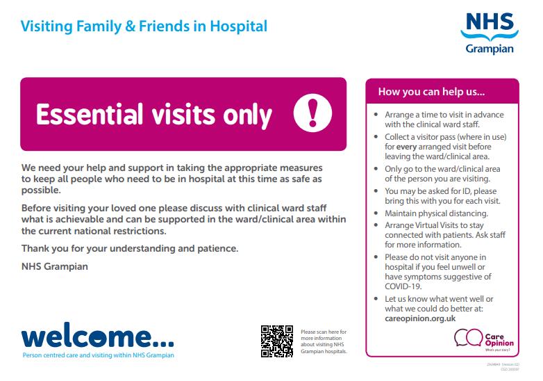 NHS Grampian advice for visiting famliy & freinds in hospital